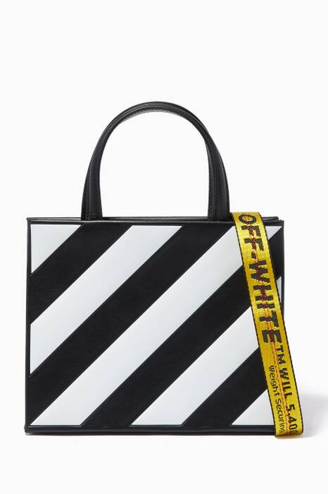 Black & White Diagonal-Stripe Tote Bag