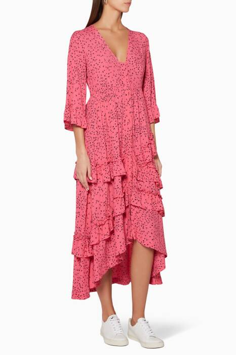 Hot-Pink Floral-Print Barra Dress