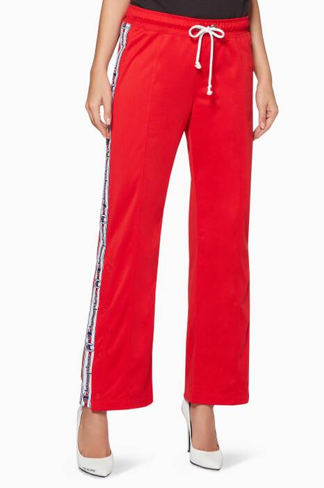 Red Side-Stripe Track Pants