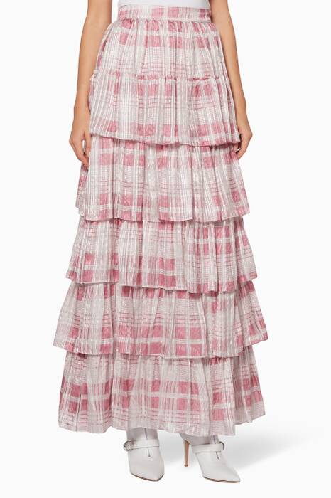 Pink Tiered Carmen Skirt