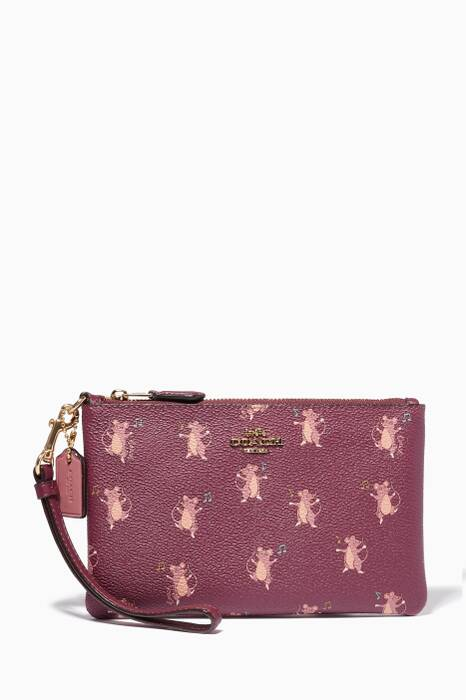 Dark Berry Mouse-Print Small Clutch