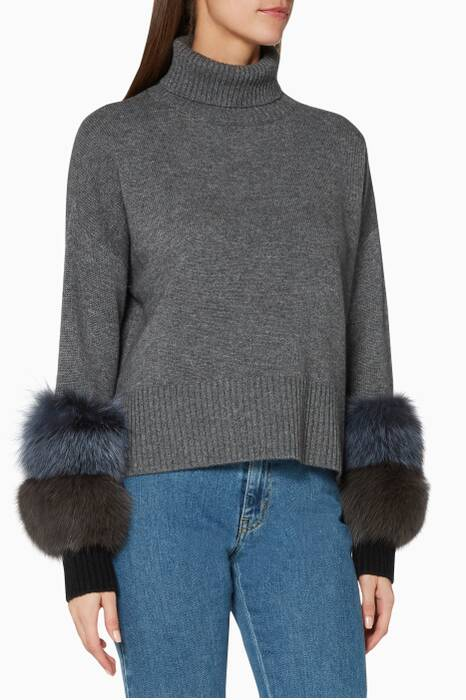 Grey Fur-Cuff Sweatshirt