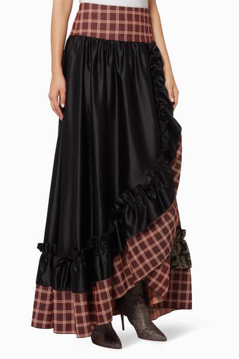Black Patchwork Frill Wide Skirt