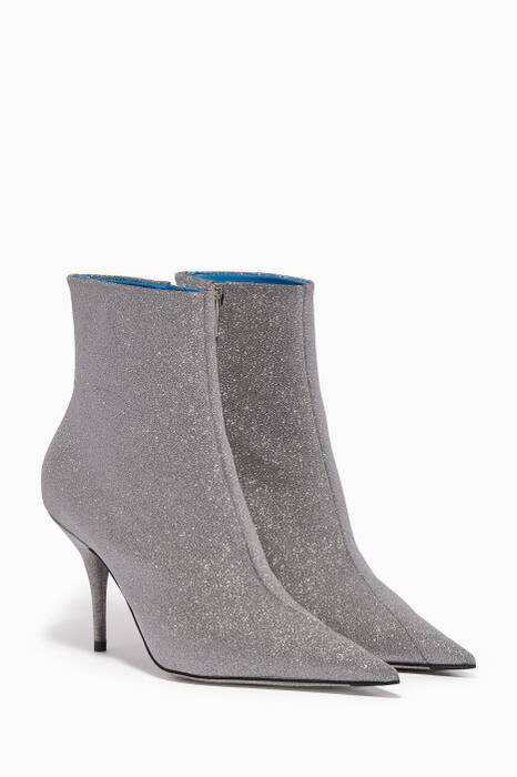 Silver Glitter Point-Toe Booties