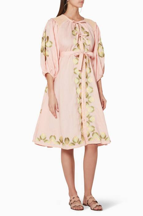 Light-Pink Embroidered Sir Külsware Midi Dress