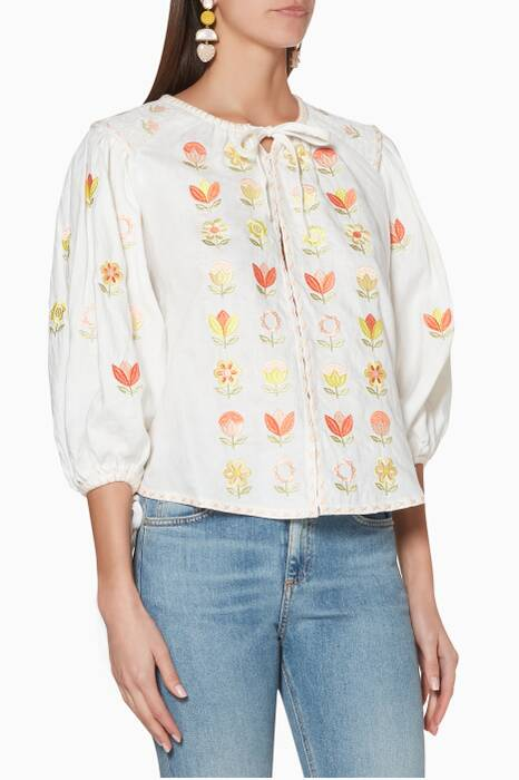 White Embroidered Flo Rålbøkay Top