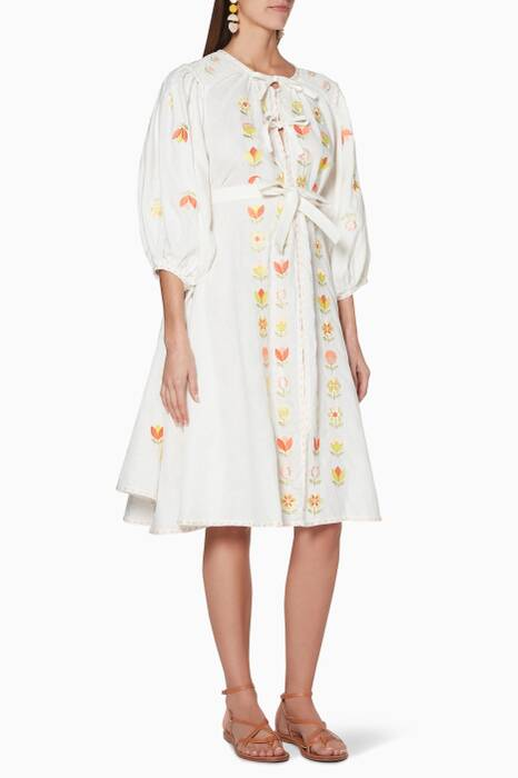 White Embroidered Flo Rålbøkay Midi Dress
