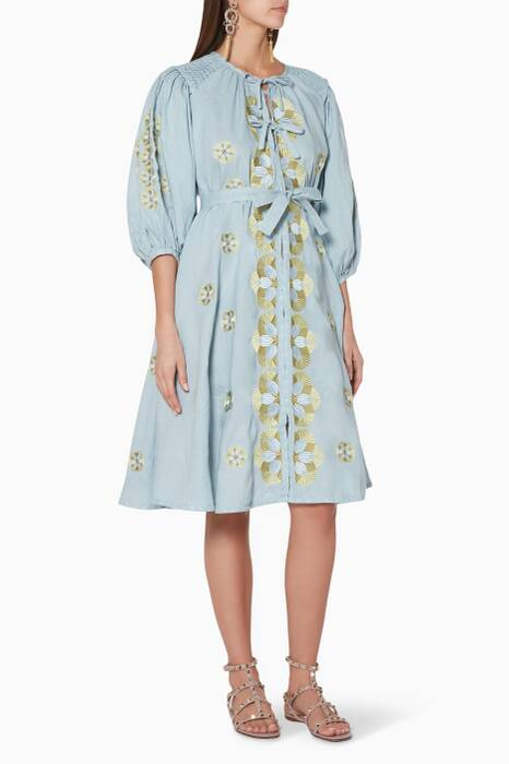 Light-Blue Embroidered Maya Gardner Midi Dress
