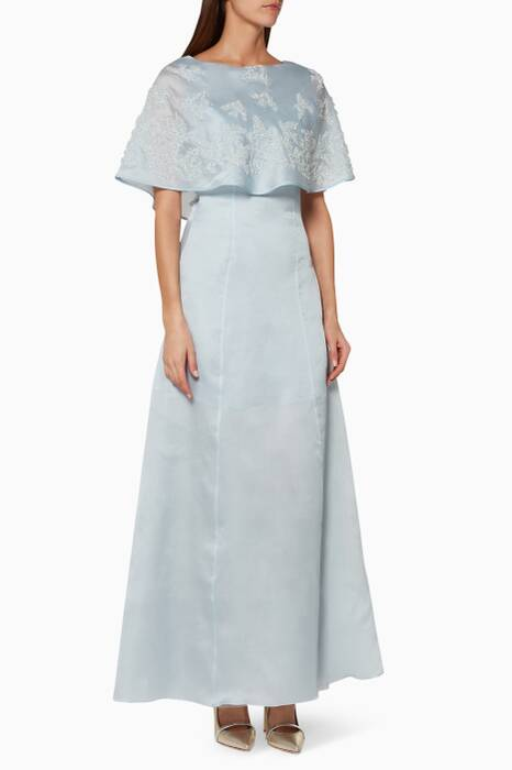 Light-Blue Embellished Cape-Detail Gown