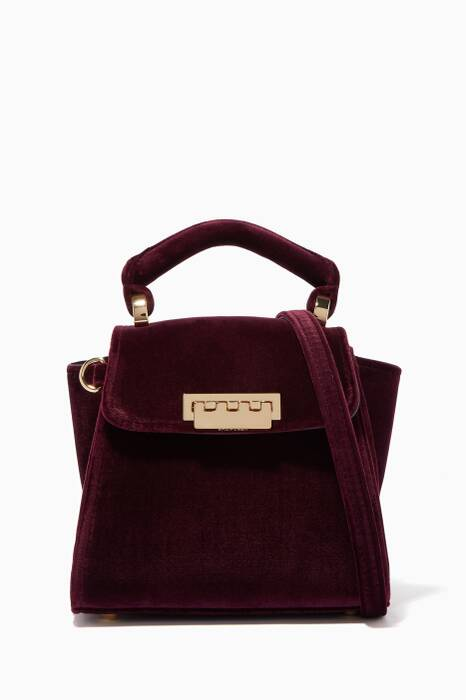 Purple Velvet Eartha Mini Top-Handle Bag