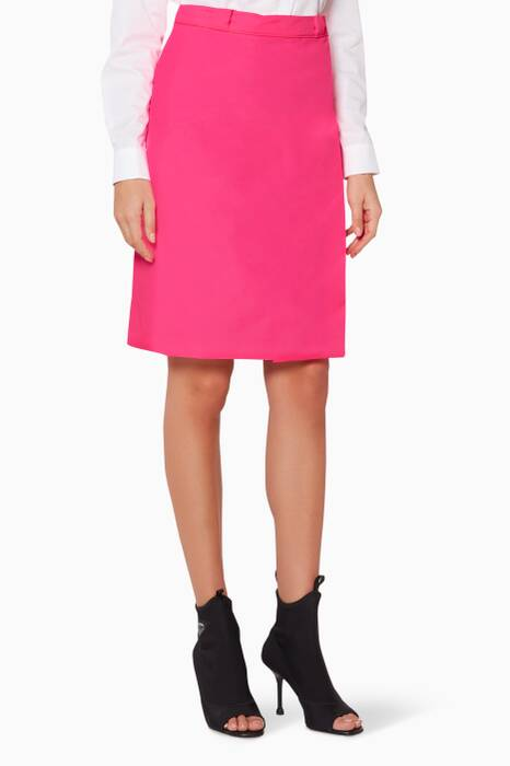Bright-Pink Leather-Logo Skirt