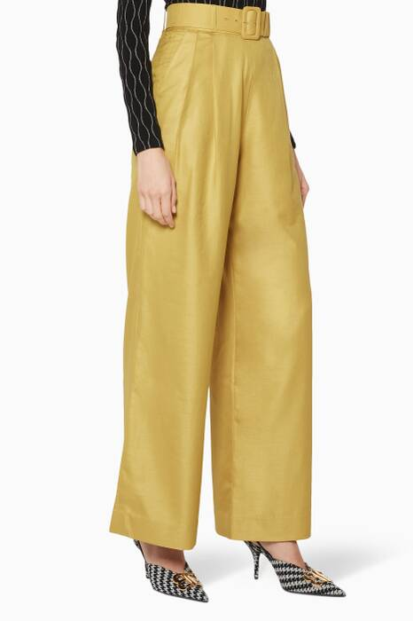 Green High-Waisted Wide-Leg Pants