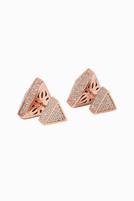 Rose Gold Triangle Doubled-Ended Earrings
