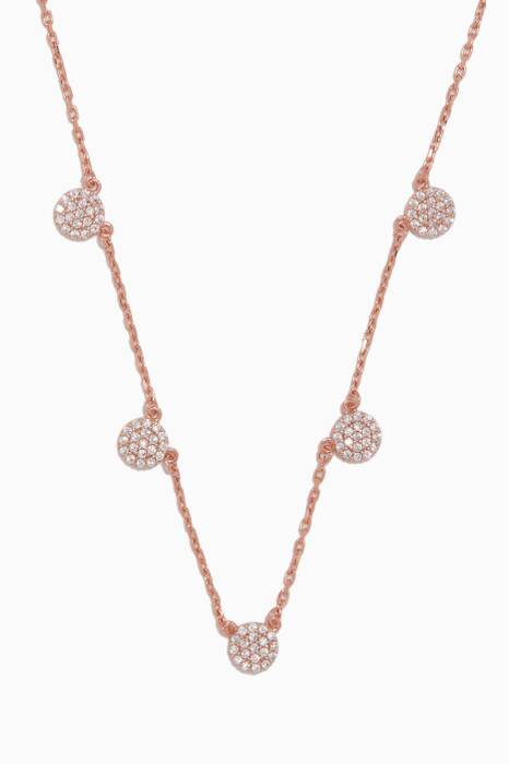 Rose Gold Embellished Disc Necklace