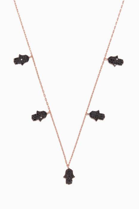 Rose-Gold & Black Crystal Hamsa Necklace