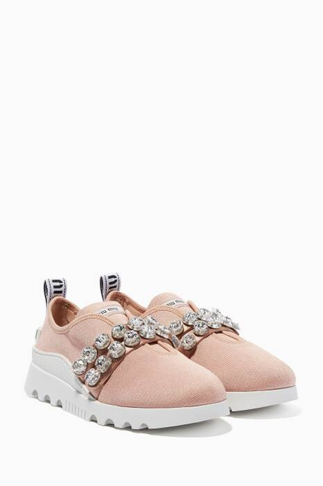 Powder-Pink Run Stretch-Knit Sneakers