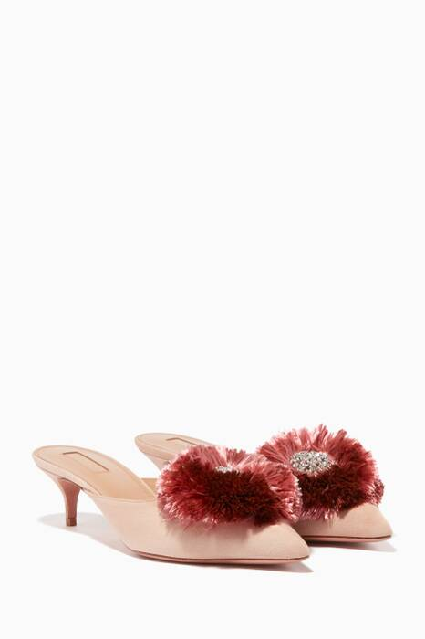 Light-Pink Suede Crystal Lotus Mules