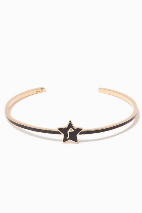 Yellow-Gold & Enamel M Star Cuff