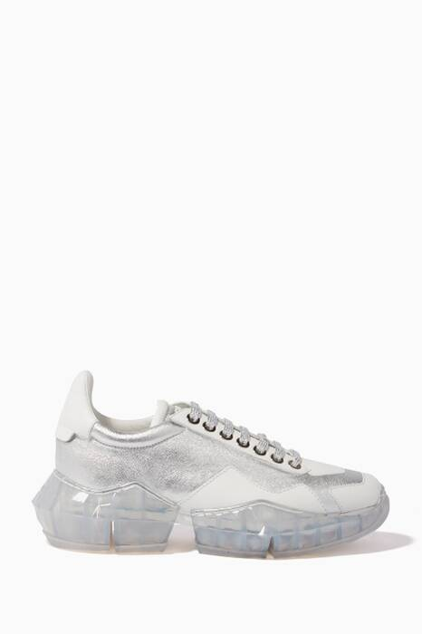 Silver & White Diamond Lace-Up Sneakers