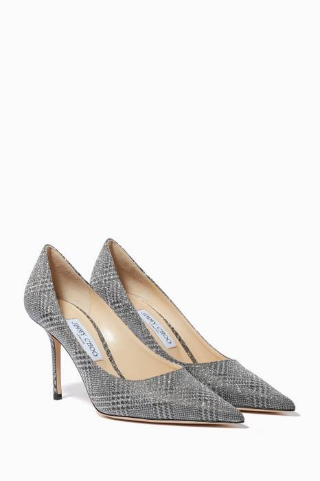 Silver Checked Love Pumps