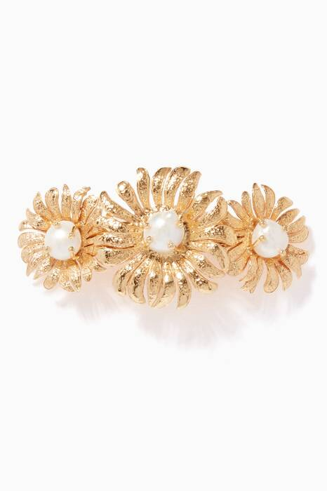 Gold Pearl-Embellished Cristina Hair Clip