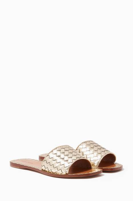 Platinum-Gold Intrecciato Furrow Ravello Sandals