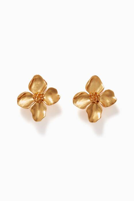 Gold Four-Petal Flower Earrings