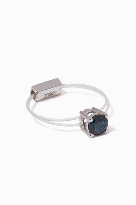White-Gold Blue-Sapphire Sparkly Me Floating Ring