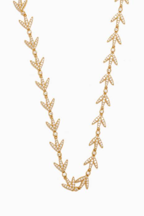 Yellow-Silver Laurel Leaves Necklace