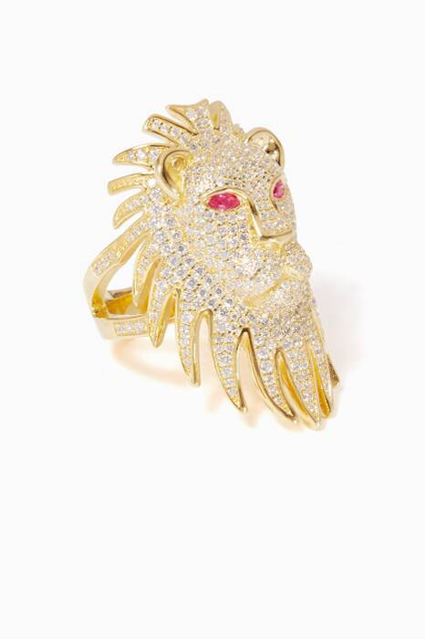 Yellow Silver Lioness Statement Ring
