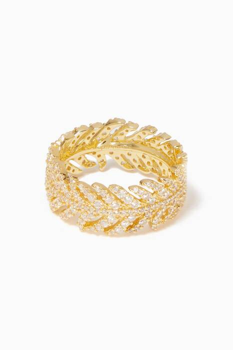 Gold Embellished Feather Ring
