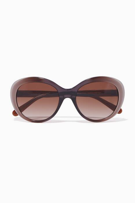 Brown Gradient Oval Sunglasses