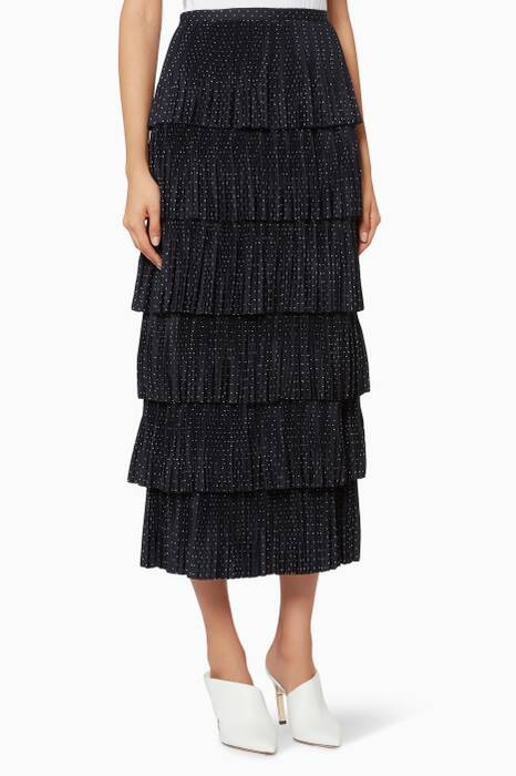 Navy Polka-Dot Randall Midi Skirt