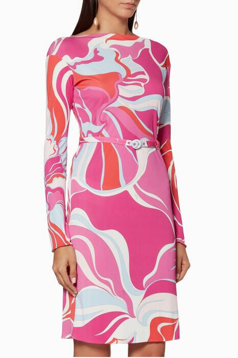 Pink Abstract-Print Belted Dress