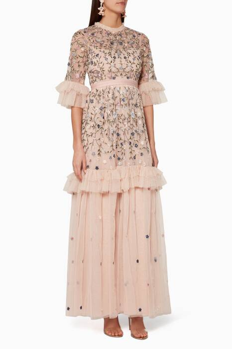Rose-Quartz Dusk Floral Gown