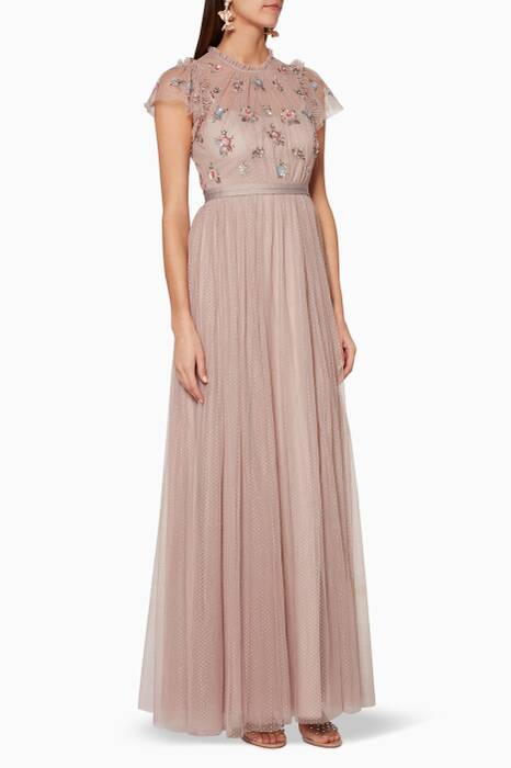 Dusk-Rose Embellished Bodice Gown