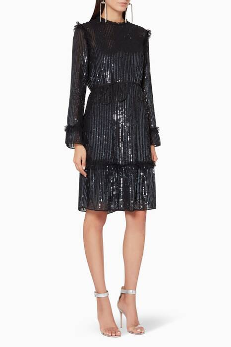 Black Gloss Sequin Dress