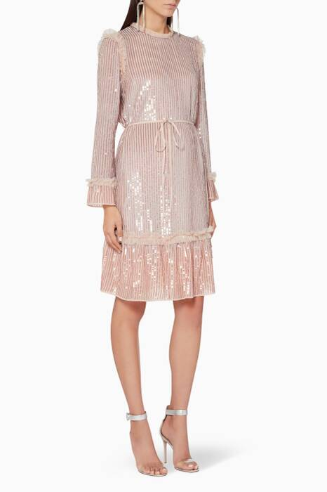 Rose-Pink Gloss Sequin Dress
