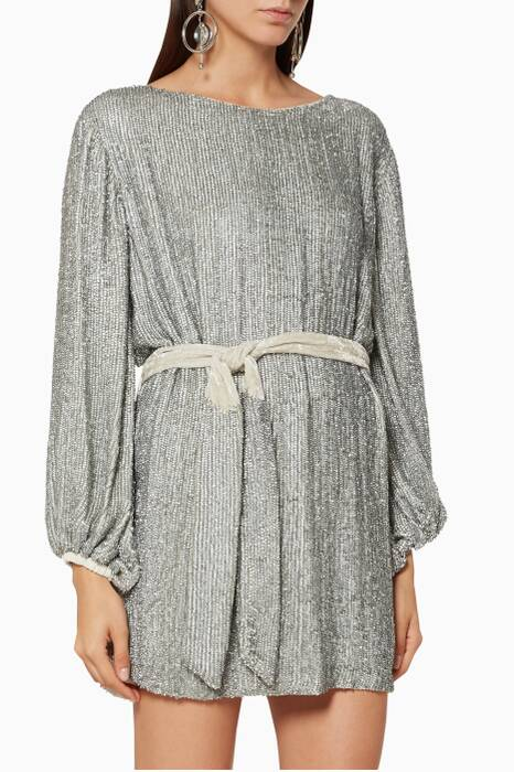 Silver Embellished Grace Mini Dress