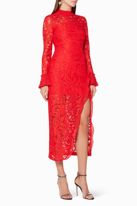 Red Fala Lace Dress