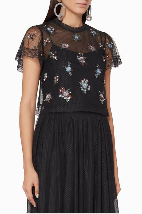 Black Rose Sequin Top