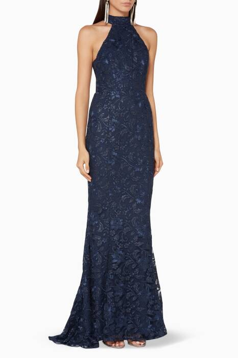Navy Embellished Clement Gown