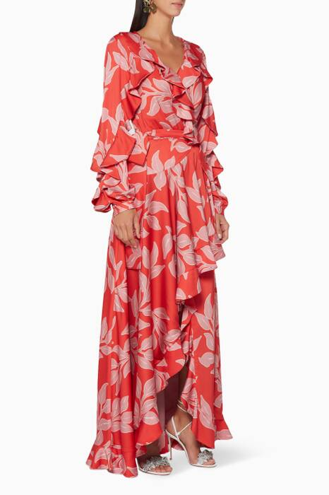 Red Leaf Print Wrap Maxi Dress