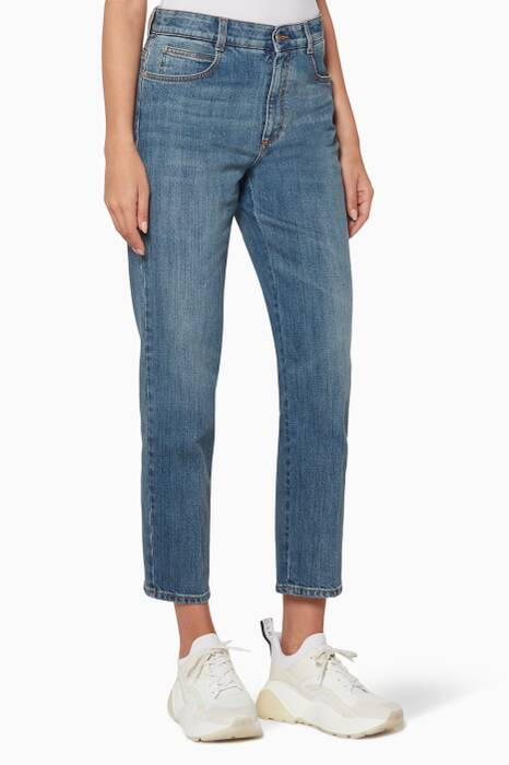Blue Mid-Rise Cropped Jeans