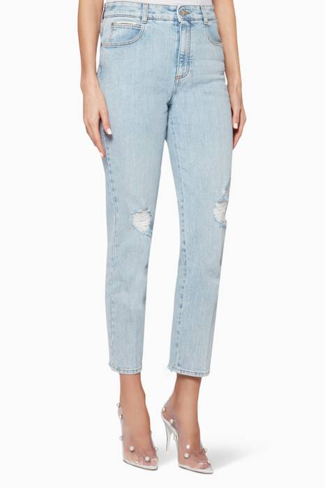 Light-Blue Mid-Rise Distressed Jeans