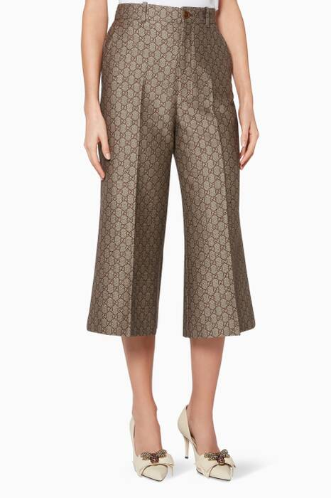 Biege & Brown Cropped GG Wool Canvas Pants