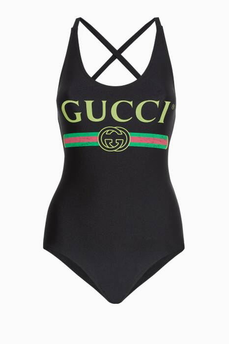 Black Logo Lycra Swimsuit