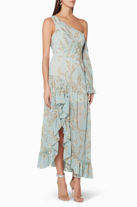 Turquoise & Gold Leaf Maxime Dress