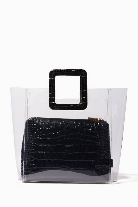 Clear Shirley Leather Tote Bag