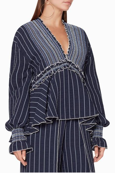 Midnight Striped Smocked Top